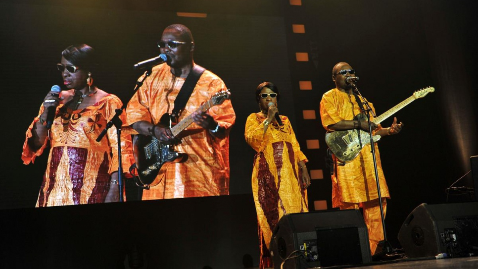 UNHCR's Nansen Refugee Award ceremony in Geneva, Switzerland / Grammy-nominated Malian musicians, Amadou & Mariam, perform at the 2013 Nansen Refugee Award ceremony.
