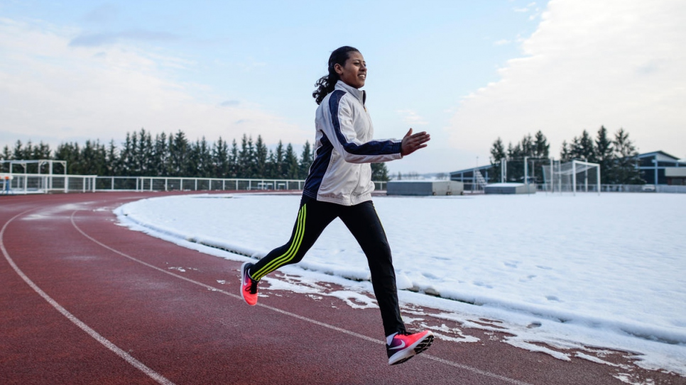 Athlete Farida, an Ethiopian refugee, trains with the help of a former gym teacher who spotted her running.