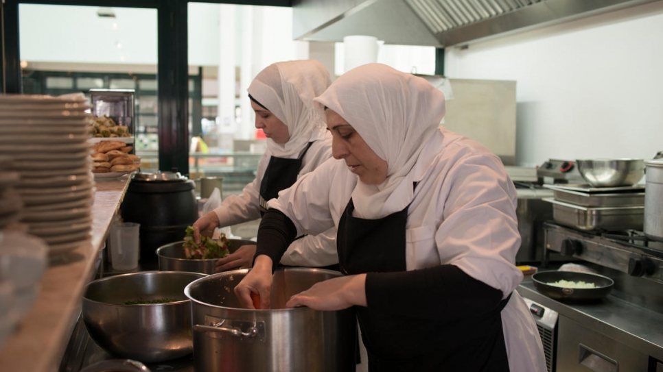 Syrian chef Fatima and her daughter Reem prepare the Syrian dishes that will be on Mezze's daily menu.