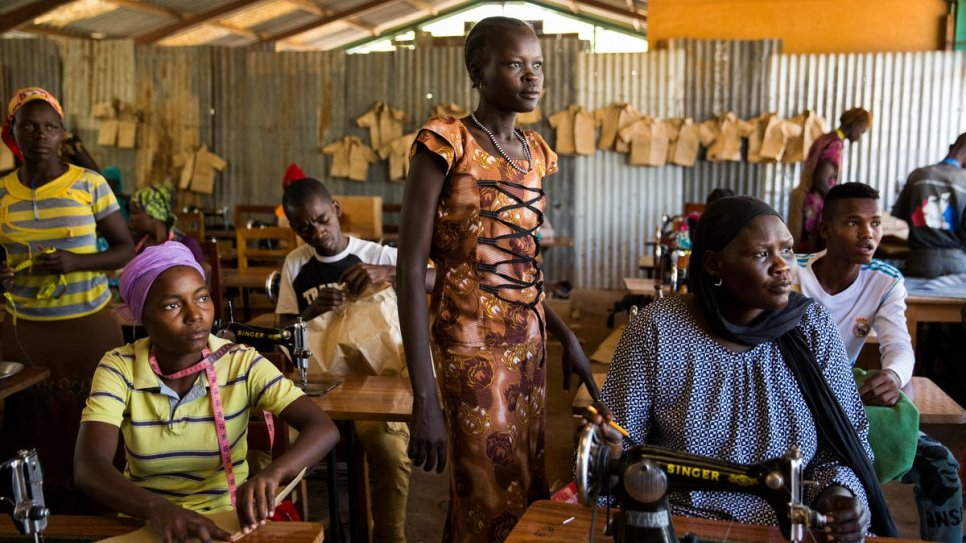 Refugees learn tailoring skills in Kakuma Refugee Camp.
