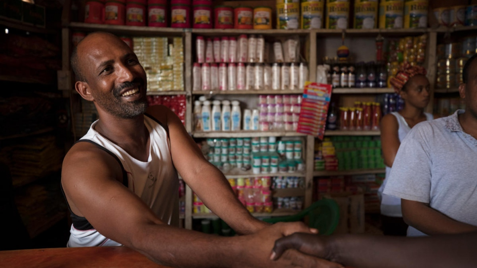 Mesfin Gitahon, a refugee and owner of a food store in Kakuma refugee camp.