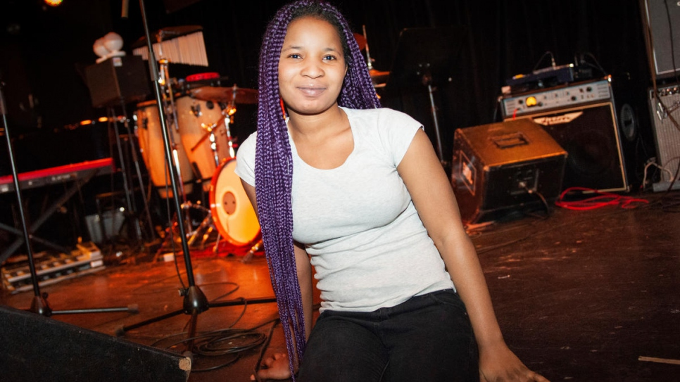 Faith Ogoruwa, 20, from Nigeria is a vocalist in the Unisono ensemble of music students and refugees.