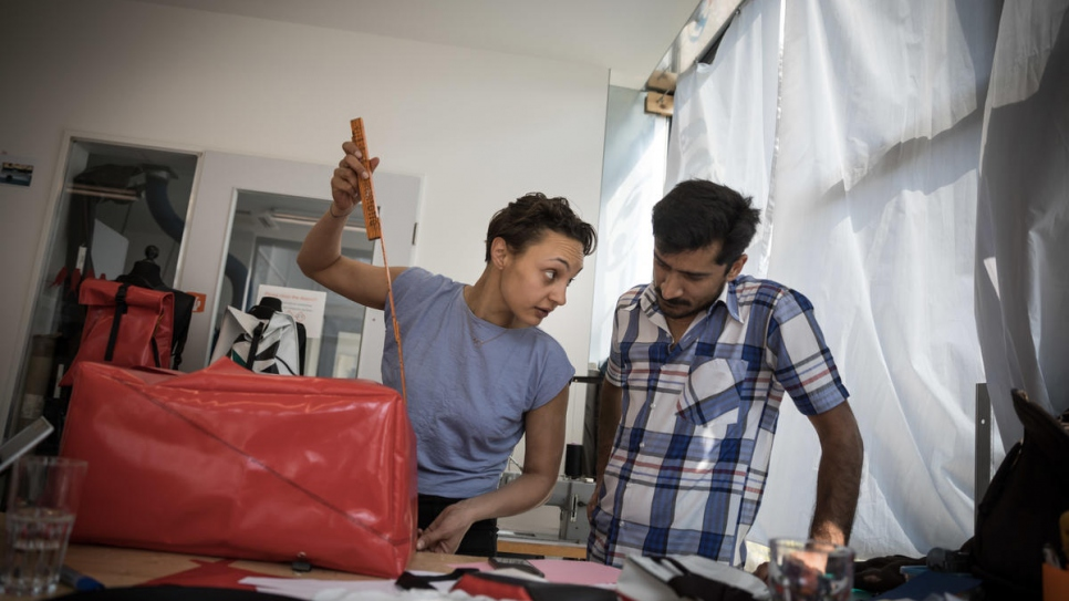 Abid (right) works with Mimycri co-founder Nora on new products.