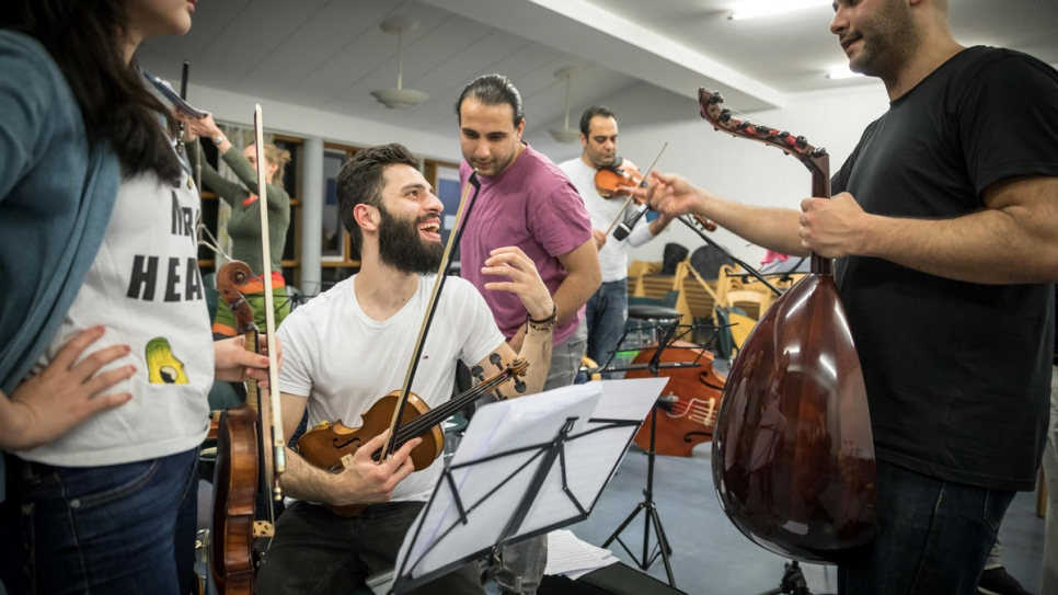 Waseem Hariri, a 26-year-old violinist from Damascus, who fled Syria in 2015.