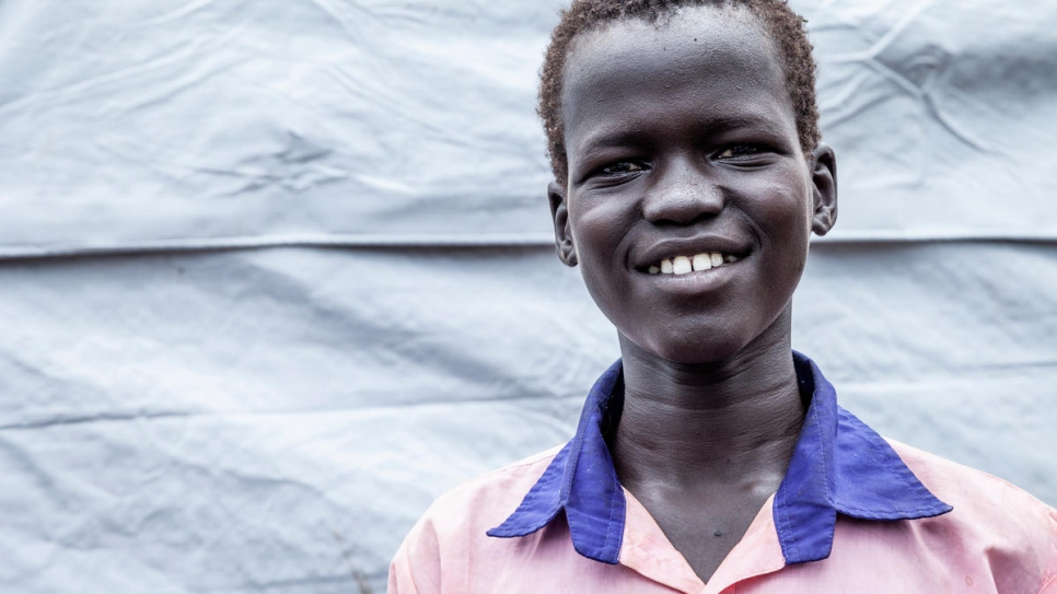 Nineteen-year-old Dinai But But Ruach fled South Sudan last year and found a new home in Gure Shombola, Ethiopia.