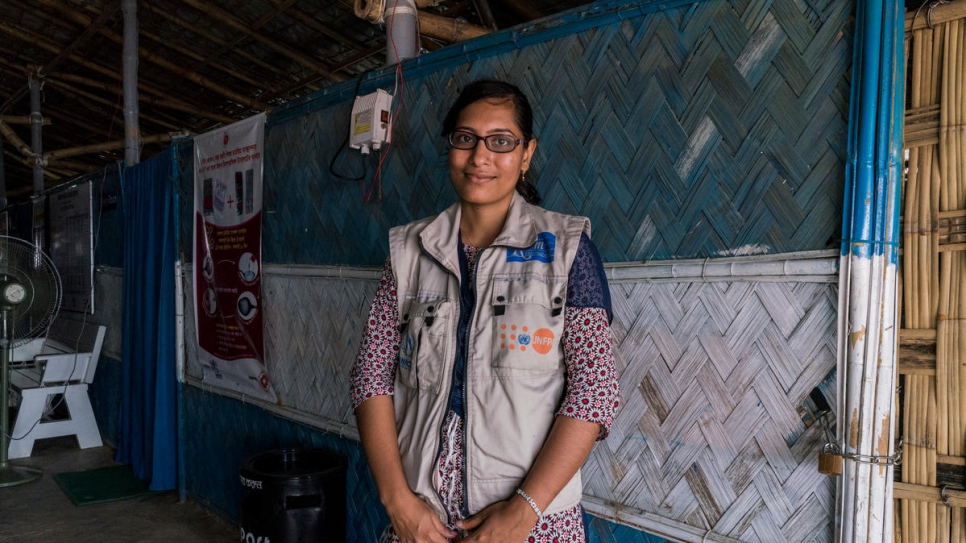 Nirea Khatun, a supervisory midwife for UNFPA, poses for a portrait at a primary health care facility funded by UNHCR and UNFPA in Kutupalong refugee site in Bangladesh.