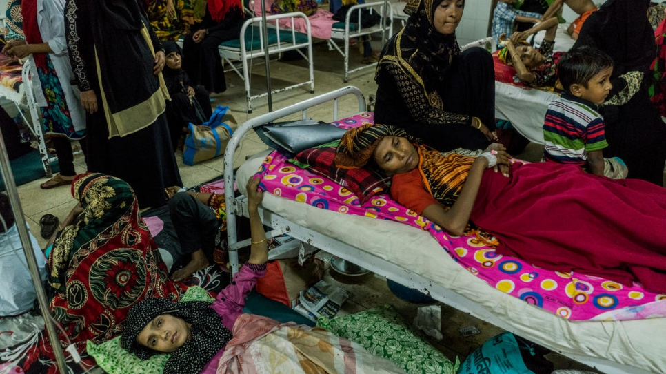 Bangladeshi and Rohingya patients share a ward at Sadar District Hospital in Kutupalong, Bangladesh on July 3rd, 2018.