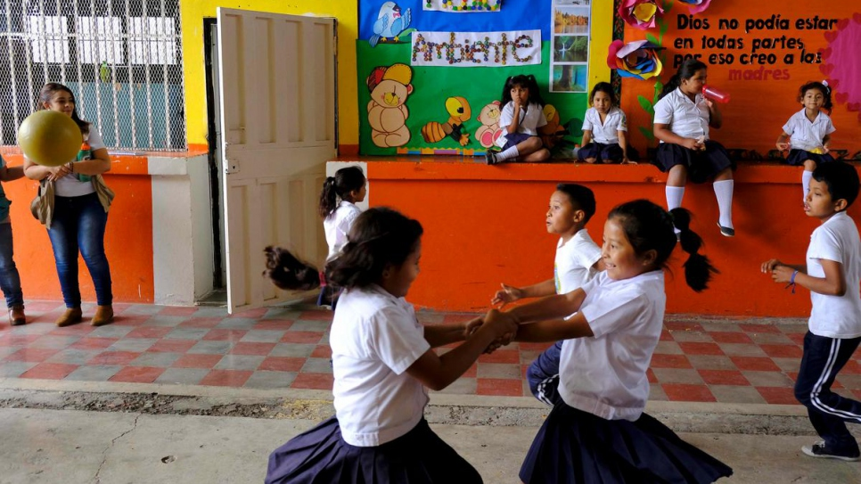 Children attend an education centre in a high-risk area of Tegucigalpa, Honduras.