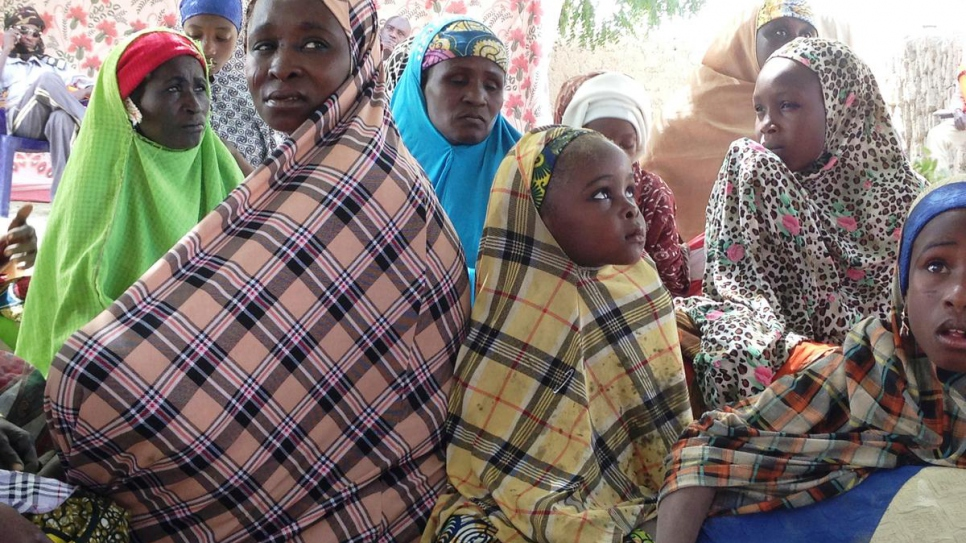Nigerian refugee women and children in Tchoukoutalia, Chad in 2015. The refugees had fled militant attacks in Borno State, Northeastern Nigeria, traveling by boat.
