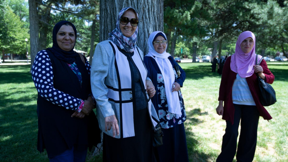 Four Women of the World participants at an outing to a local park in Salt Lake City.