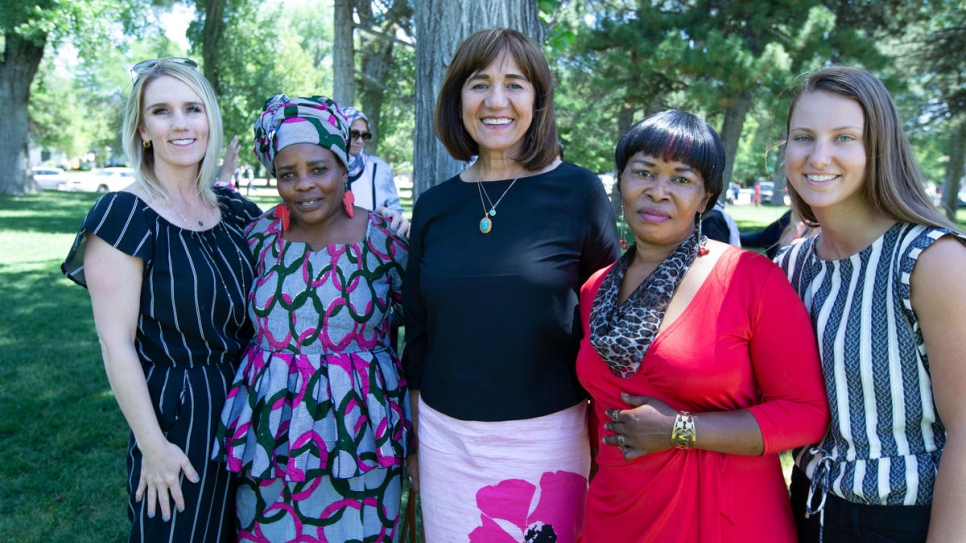 From left to right: Women of the World office manager Heidi Christensen, participant Vestine MnKeshimana, founder and Nansen Award Americas regional finalist Samira Harnish, participant Rosette Kindja and case manager McKensie Cantlon.