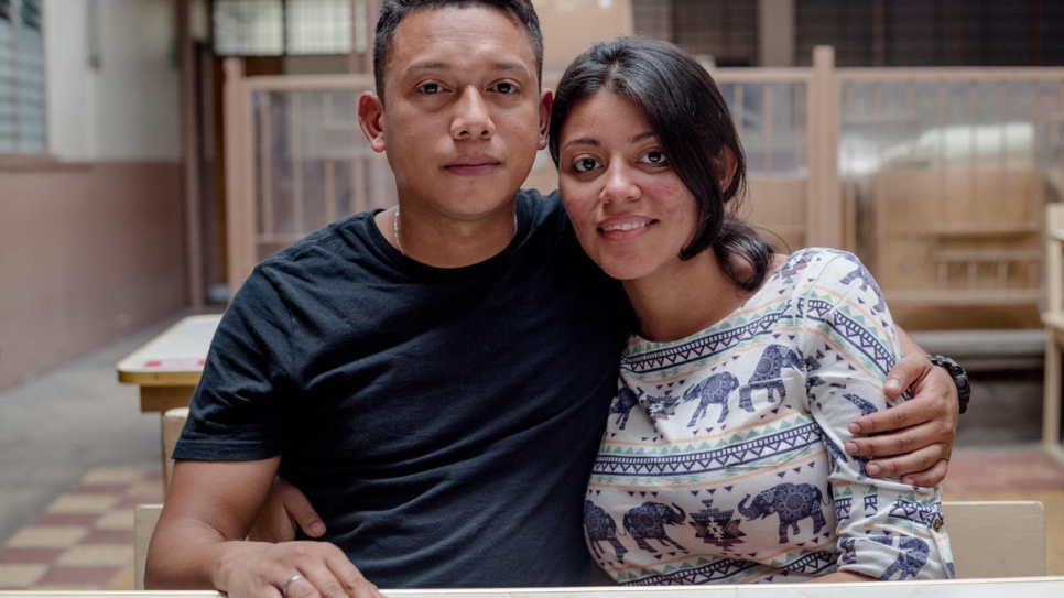 Jorn Henrry Bermudez, 28, and his 19-year-old partner Ana Kathiushka Castro, who is five months pregnant, apply for asylum in San Jose.