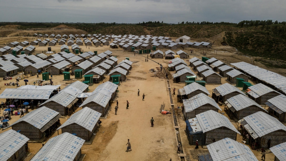 Newly built shelters in Camp 4 extension site, Kutupalong, will house thousands of relocated families who were at risk from the monsoon downpours.