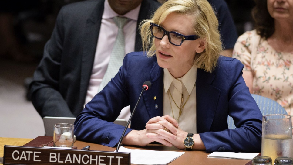 Cate Blanchett urges UN Security Council to meet 'pressing needs' of Rohingya refugees A year into displacement crisis, UNHCR Goodwill Ambassador calls for 'innovative ways' to aid more than 720,000 refugees and their hosts in Bangladesh. UNHCR Goodwill Ambassador Cate Blanchett briefs the UN Security Council in New York. © UN Photo/Manuel Elias