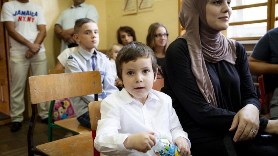 Poland. Chechen children mingle happily in village school