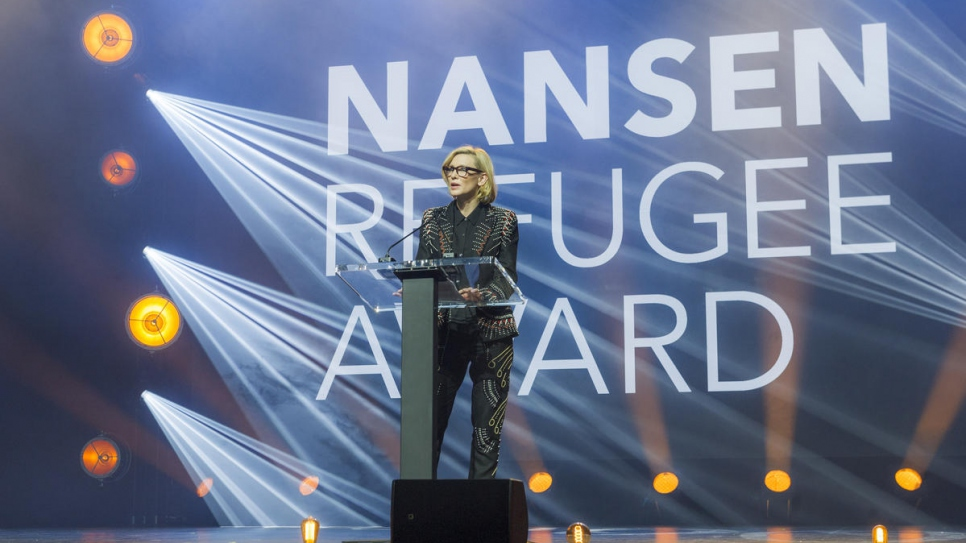 UNHCR Goodwill Ambassador Cate Blanchett gives the keynote address at the 2018 Nansen Refugee Award ceremony.