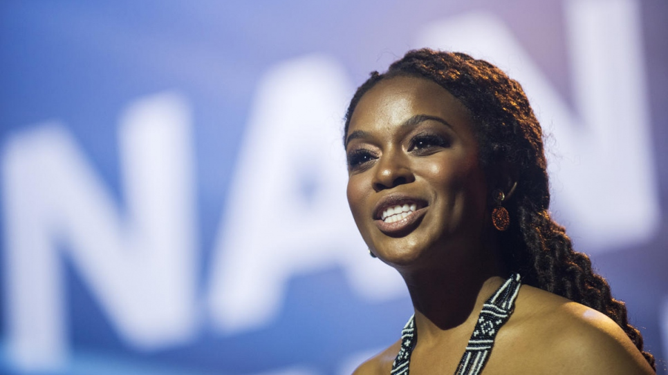 Nomzamo Mbatha, South African actress and human rights activist, hosts the Nansen Refugee Award ceremony at the Bâtiment des Forces Motrices in Geneva.