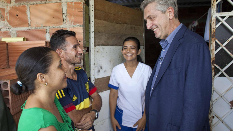 UNHCR chief Filippo Grandi visiting a Venezuelan family in Las Delicias, Cúcuta hosted by Colombian families who were themselves displaced by the armed conflict.