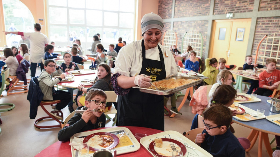 Iraqi chef Maryam Hani made lunch for more than 200 children at the Collège Octave Mirbeau in Trévières, north-west France.