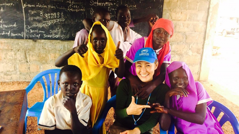 Keiko meets the kids at a child's rights club at a school in Maban refugee camp, South Sudan. The children are given awareness-raising sessions about early and forced marriage.