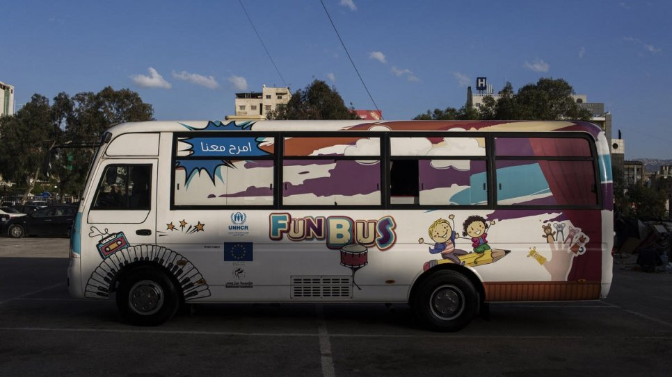 "The ""Fun Bus"" is run by a Lebanese NGO, the Makhzoumi Foundation, with financial backing from the European Union."