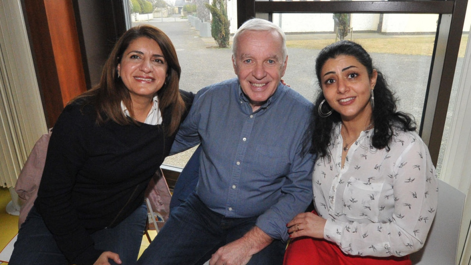 Syrian refugee Angham Fakir (right) meets her neighbours Luma and John Farrelly at an event organised by a community sponsorship programme in Dunshaughlin, County Meath.