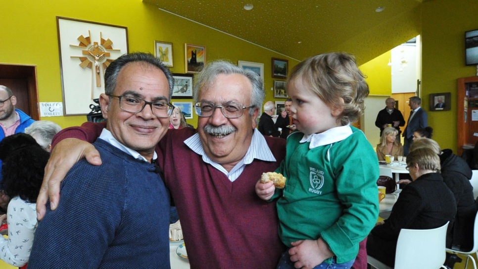 Syrian refugee Zuhair Fakir (left) meets some of his new neighbours at an event to welcome his recently arrived family to Dunshaughlin, County Meath.