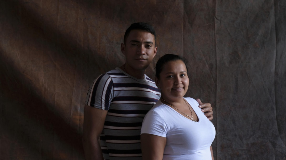 Gabriel Arana, 31, and Nereyda Camejo, 28, from Venezuela during their stay at Carmen's hostel in El Juncal, Ecuador.