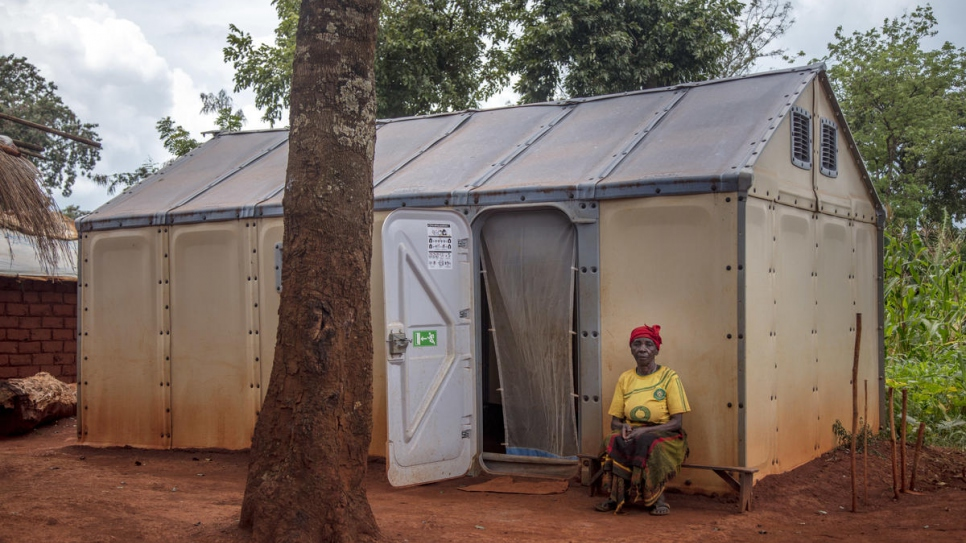 Congolese refugee Apolina Nyassa, 86, lives alone in a Refugee Housing Unit (RHU) given to refugees with special needs, at Nyarugusu camp in Tanzania.