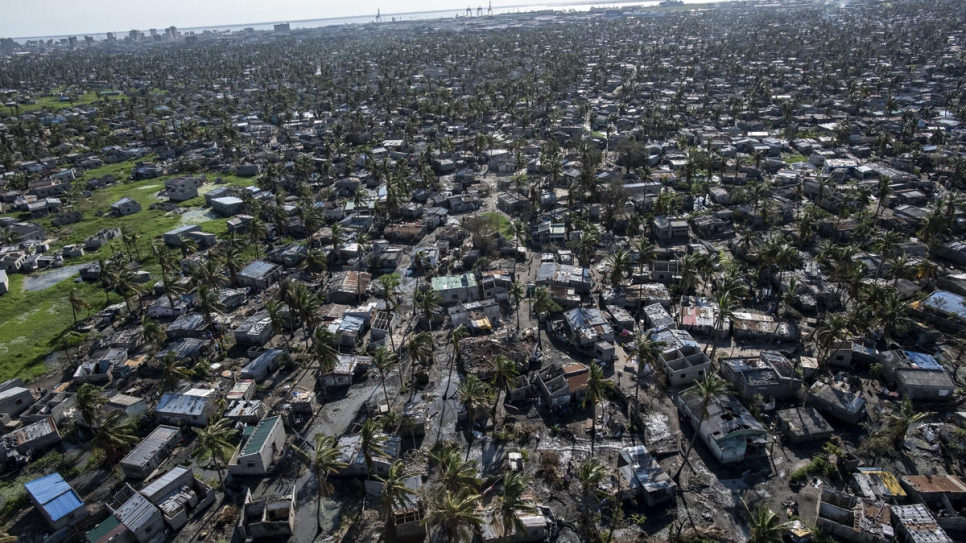 An aerial view of the city of Beira, Mozambique, and the extensive damage to homes, buildings and trees.