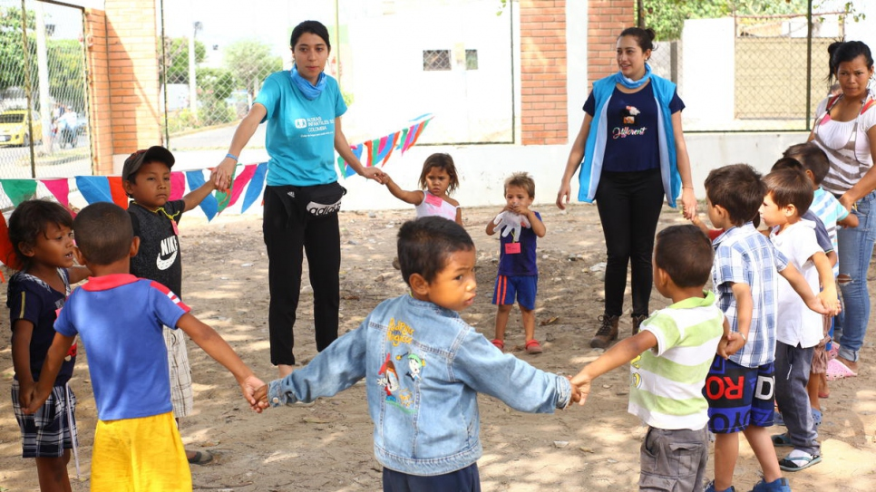 Venezuelan children participate in fun activities at new reception centre in Maicao, Colombia.