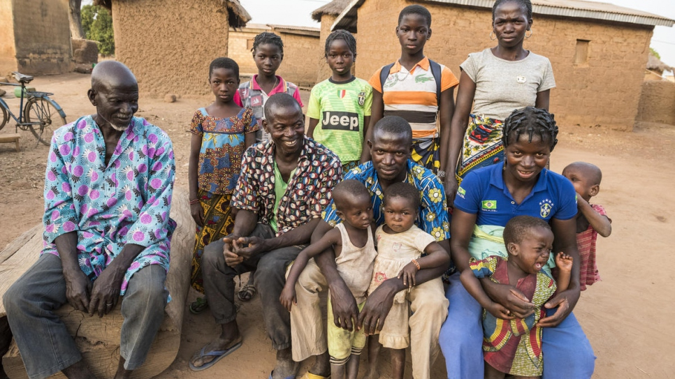 Ngolo Silué with members of his family in Olleo, Côte d'Ivoire.