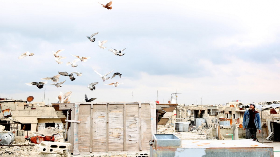 Jihad, 44, calls home his flock of pigeons on the rooftop of his recently-rehabilitated house in Homs, Syria.