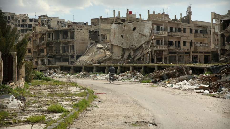 Eight years after the crisis began in Homs. Many of the buildings still stand in ruins
