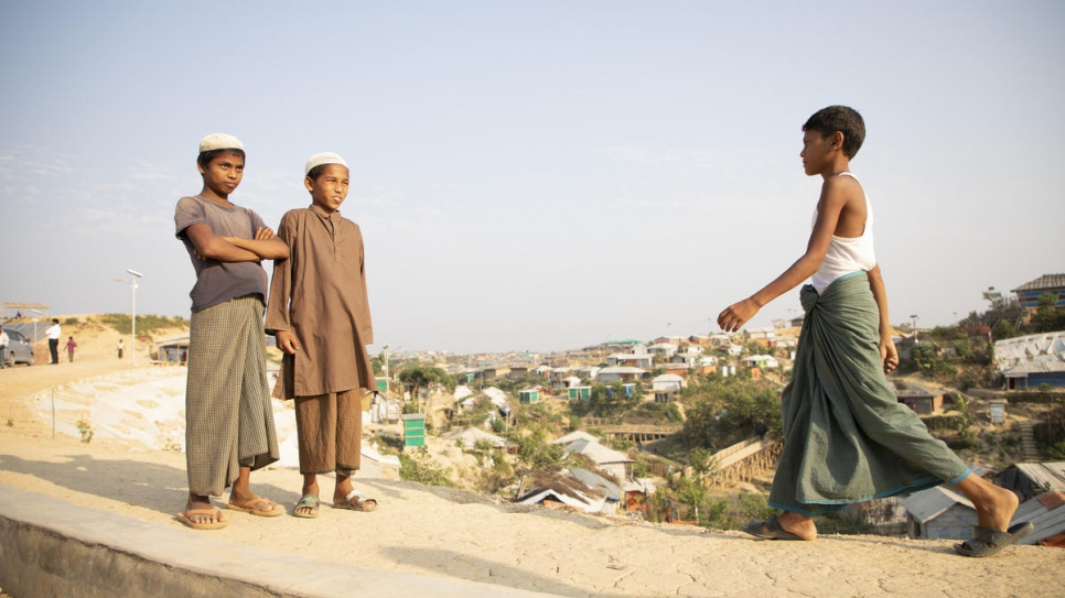 Young Rohingya refugees at Kutupalong refugee settlement, Bangladesh.