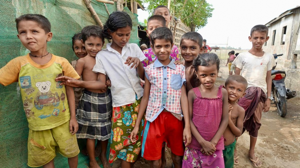 Internally displaced Rohingya children living in camps on the outskirts of Sittwe in the central part of Myanmar's Rakhine State. The camps are segregated from other communities.