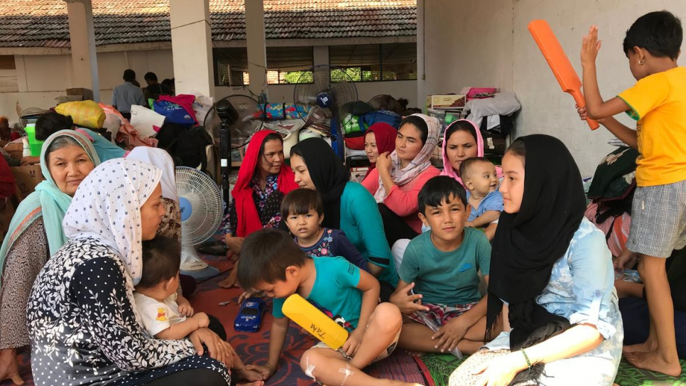 Afghan families in temporary accommodation at the police station in Negombo, Sri Lanka.