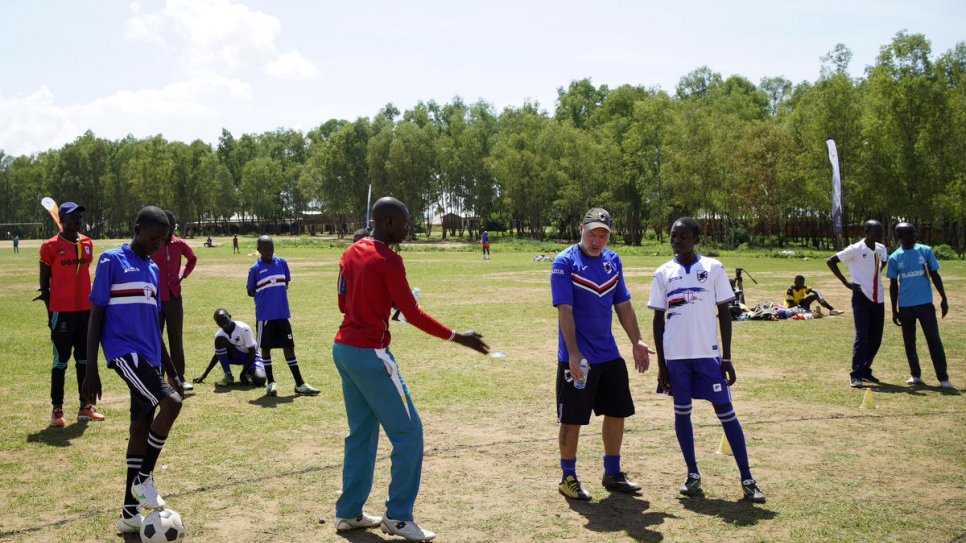 Training session with Italian Sampdoria coach Marco Bracco who is explaining an exercise to the boys selected from among refugees and the host community.