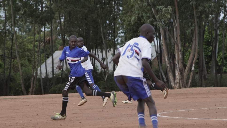 Patrick Amba, 14, in action during a match against Imvepi.