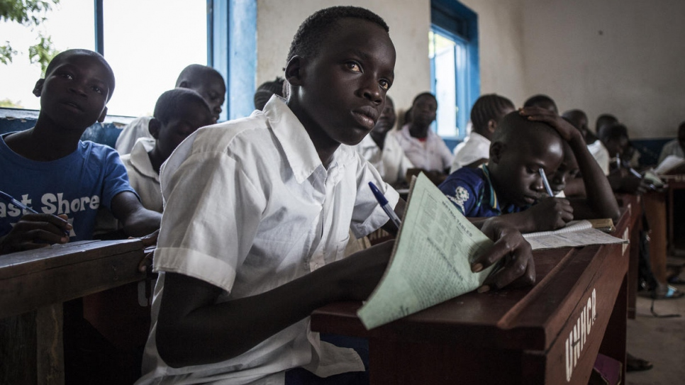 """I study a lot and surround myself with friends that also have high academic ambitions,"" says Gift, 14, a South Sudanese refugee in Biringi Refugee Settlement in the Democratic Republic of the Congo."