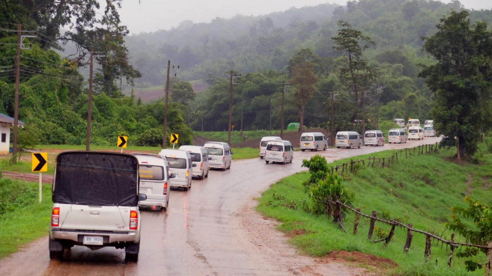 A convoy of vehicles carrying refugees from Myanmar departs from Nu Po temporary shelter in Umphang district, Tak province, western Thailand.