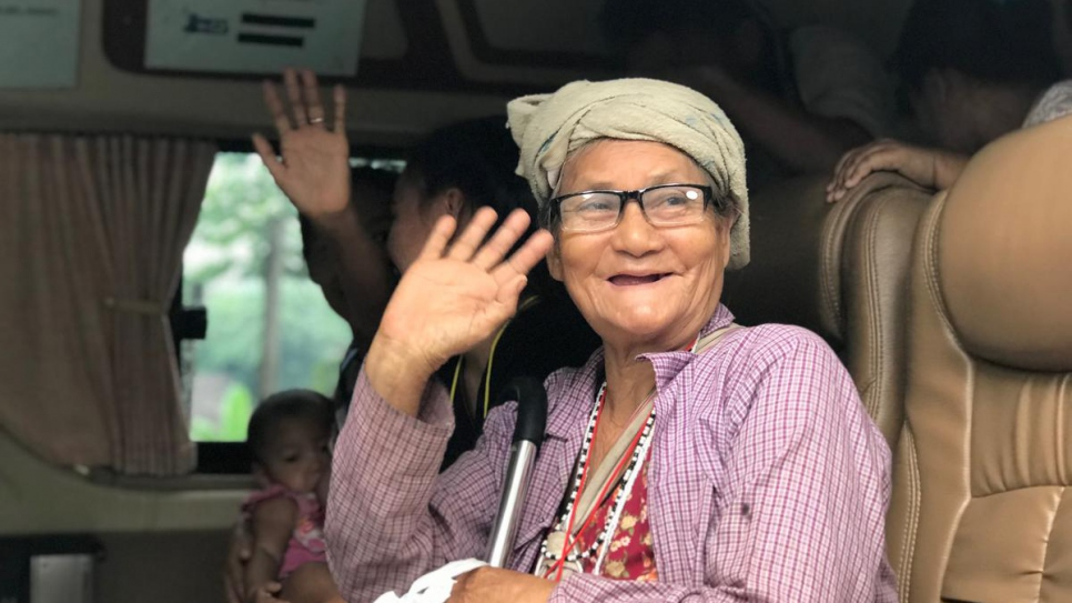 Pree, an 82-year-old Myanmar refugee, departs Mae La temporary shelter in Tha Song Yang district, Tak province, western Thailand.