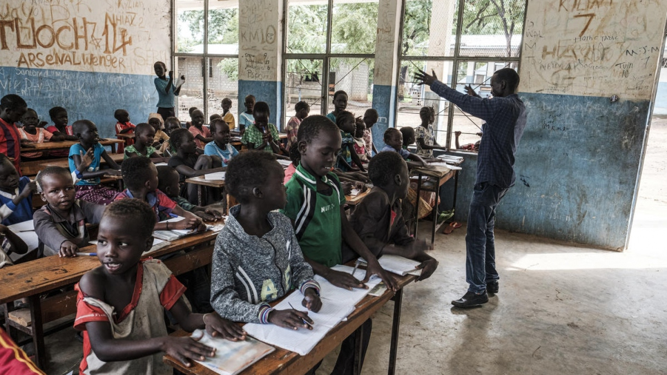 Koat Reath addresses his 100-strong class at Jewi Refugee Camp in Gambella, Ethiopia.