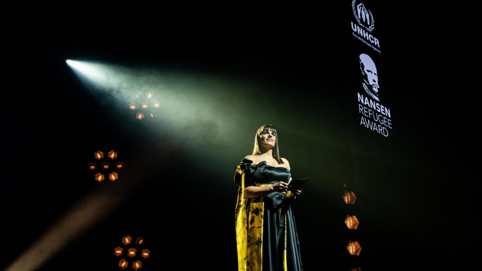 South African television presenter and UNHCR Goodwill Ambassador Leanne Manas hosts the 2019 Nansen Refugee Award ceremony.