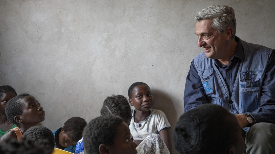UN High Commissioner for Refugees Filippo Grandi meets with young Congolese refugees at a safe space for girls in the Mantapala settlement, Zambia.