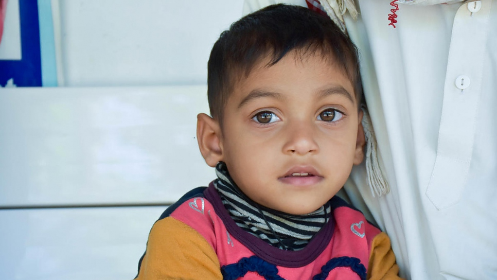 Three-year-old Aisha is being treated at the Physiotherapy and Physical Rehabilitation Centre in Shamlapur for a developmental delay that prevented her sitting and moving her back,