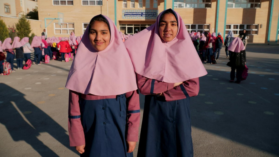 Parisa, 16 (right), and her sister Parimah, 14, are undocumented Afghans attending school in Esfahan, Iran.