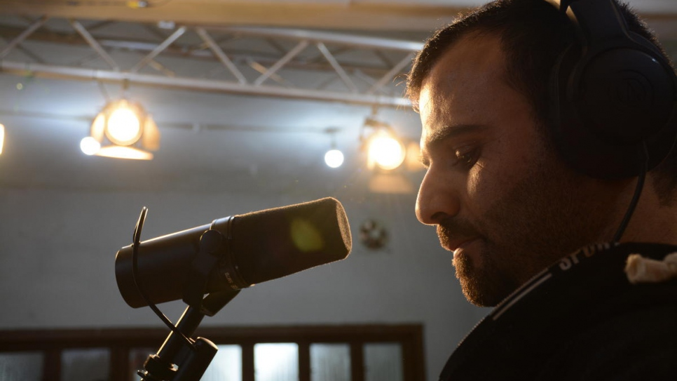 American musician and producer Jay Denton rehearses in the studio in Beirut, Lebanon.