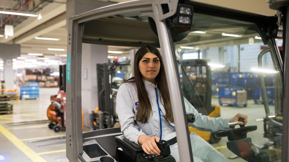Mastura at work at the VW logistics centre in Baunatal, Germany.