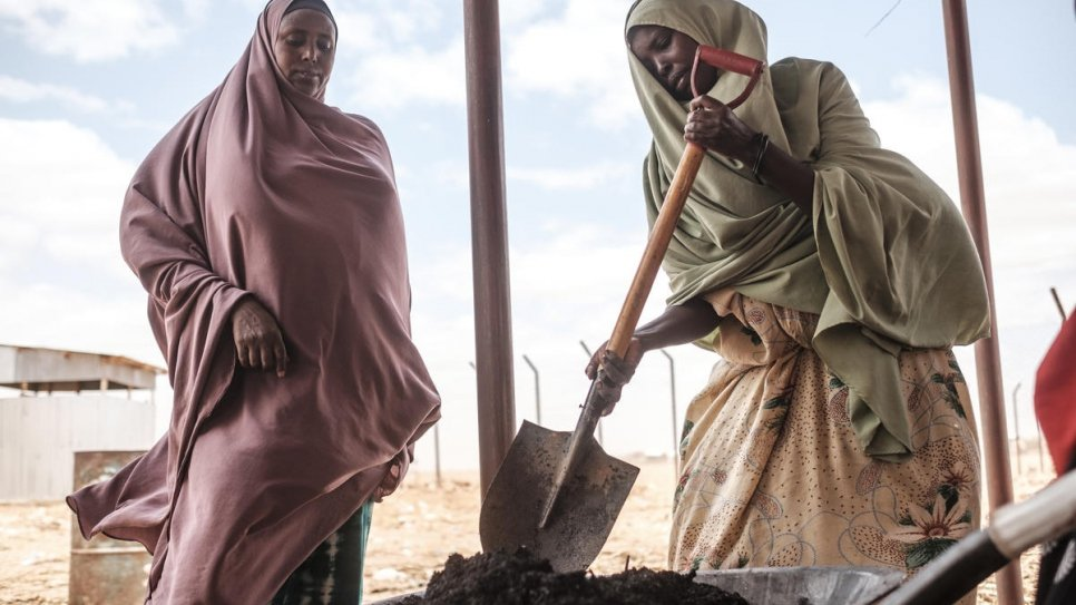 Somali refugee Saredo Abdi, 26, (right) turns by-products of Prosopis Juliflora with a shovel at a processing center in Bur Amino, Ethiopia.